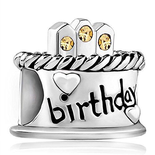 Happy Birthday Cake Sterling Silver November Birthstone Candles Beads Fits Bracelet Charms