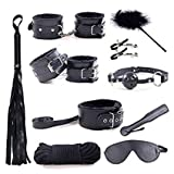 YELO 10 Pcs Bed Bondage Kit, Restraints Love wrist and ankle Cuff Bracelets Set Fetish Bondage Restraint Systemd Soft Whip - 10pcs/set Black