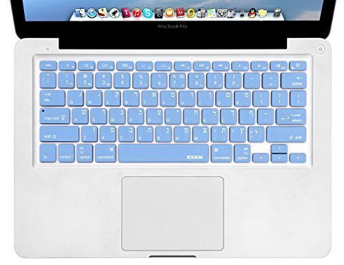 - XSKN Hebrew Language Blue Color Silicone Keyboard Skin Cover for MacBook Air 13, Pro 13 15 17 inch, US Layout