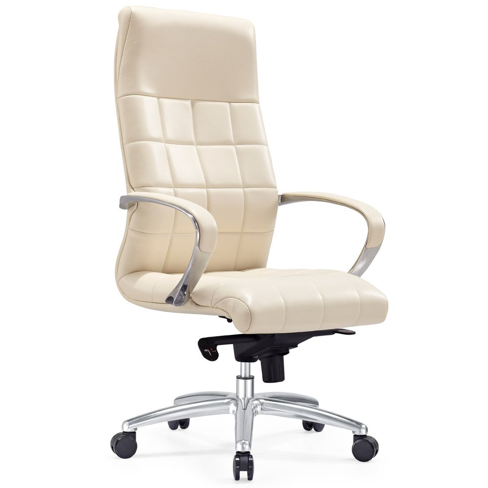 Modern Ergonomic Grant Leather Executive Chair with Aluminum Base- Cream