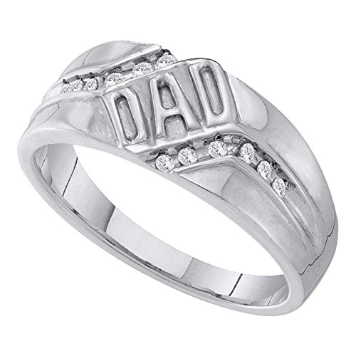 10kt White Gold Mens Round Diamond Dad Father Band Ring 1/8 Cttw (Mens Ring Diamond Dad Round)