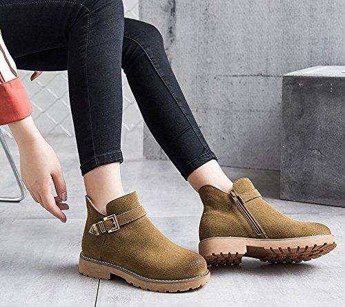 Aisun Damen Fashion Rund Zehen Kurzschaft Stiefel Schnürboots Stiefeletten Mit Reißverschluss Braun