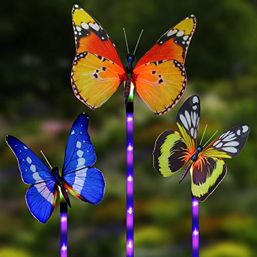 Solar Garden Lights, Cuteadoy Outdoor Solar Garden Stake Lights 3 Pack Butterfly Solar Lights Outdoor Decorative Multi-Color Changing LED Flower Lights for Garden/Yard/Patio (Butterfly-3 Pack)