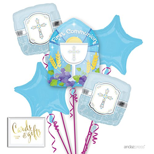 Andaz Press Balloon Bouquet Party Kit with Gold Cards & Gifts Sign, Blue Baby Boy's First Communion Christian Catholic Church Foil Mylar Balloon Decorations, 1-Set