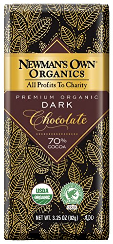 Newman's Own Organics Organic Premium Chocolate Bar, Super Dark 70% Cocoa, 3.25-Ounce Bars (Pack of 12) (Chocolate Super)