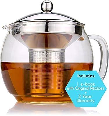Glass Pot for Tea and Coffee, 36oz