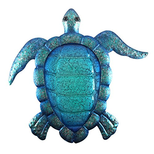 Liffy Turtle Wall Decor Outdoor Sea Metal Art Hanging Decorative Glass Sculpture Blue