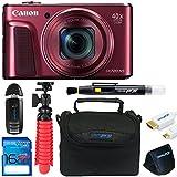 Canon Powershot SX720 (Red) + 12 Tripod + 16GB Memory Card + Pixi-Basic Accessory Bundle