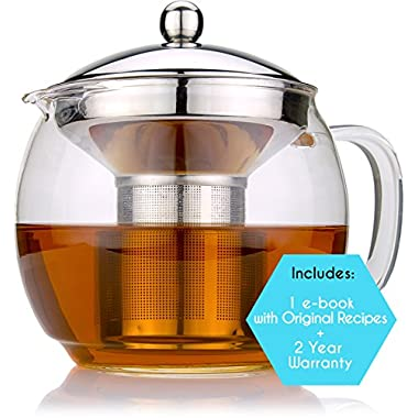 Glass Teapot with Infuser for Blooming and Loose Leaf Tea Pot by Cozyna | Holds 3-4 Cups | Includes Recipe Book