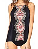 Baonmy Women Two Pieces Tribal Printed Flyaway Black Tankini Sets with Triangle Brief Swimsuit (Black, XXXL)