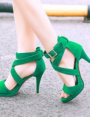 ShangYi Womens Shoes Heel Heels / Peep Toe / Platform Sandals / Heels Outdoor / Dress / CasualBlack / Blue / Green / Pink /9390 Pink