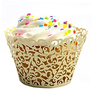 Mialand(TM) 50 Filigree Little Vine Lace Laser Cut Cupcake Wrapper Liner Baking Cup by Mialand