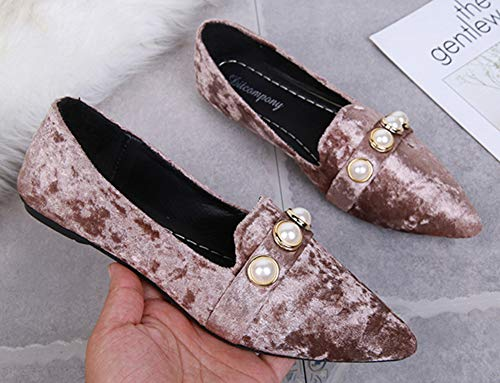 Bout Chaussures Pointu Confortable Basse Plates Femme Aisun Perles F fZqXTnw
