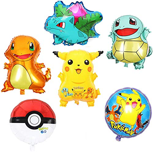Large Pikachu Theme Party Balloons Decorations Supplies for Kids & Adult Party Celebration - 6 Pack
