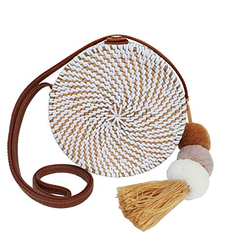 White Rattan Crossbody Bag for Women | Round Bali Ata Woven Wicker Purse for Summer Beach