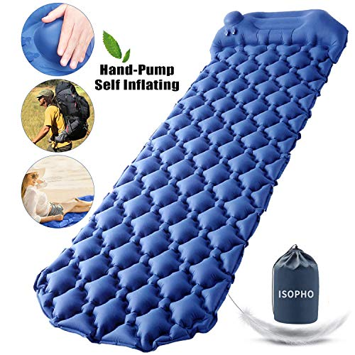 ISOPHO Camping Sleeping Pad with Built-in Pump, Inflatable Camping Mat with Pillow, Durable Waterproof Camping Mattress for Backpacking, Traveling, Hiking