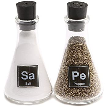 Wink Science Flask Salt and Pepper Shakers,Clear, Black,Small