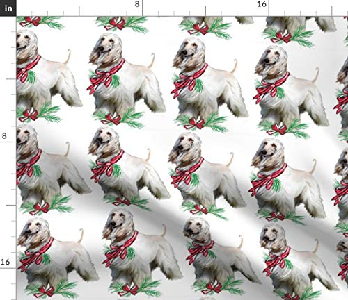 Christma Fabric - Afghan Hound Fabric Dog Breed Fabric Holidays Seasonal Greenery Red by Dogdaze Printed on Organic Cotton Knit Ultra Fabric by The Yard