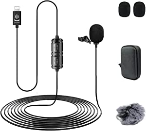 Lapel Microphone Compatible with iPhone,Professional External Lavalier Microphone Audio Video Recording,can be Used for YouTube,Interview,Conference(19.6ft)