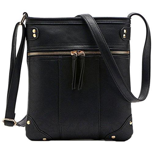 Donalworld Pu Leather Crossbody Purse Travel Small Zipper Front Shoulder Bag Black