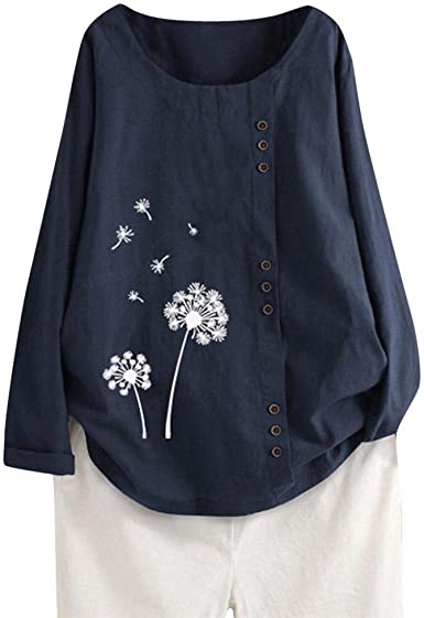 VJGOAL Camisetas de Manga Larga de algodón y Lino para Mujer Moda ...