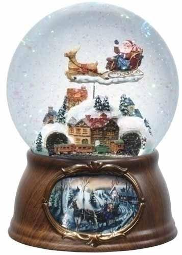 "6.5"" Musical Rotating Santa Claus with Train Christmas Snow Globe Glitterdome"