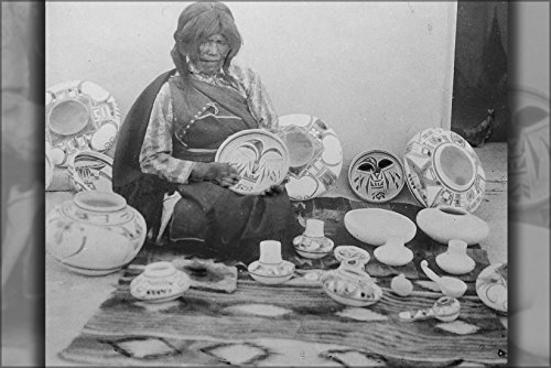 Hopi Pottery Nampeyo - 42x63 Poster; Nampeyo, Hopi Pottery Maker, Seated, With Examples Of Her Work, 1900