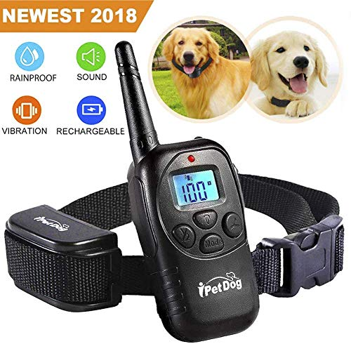 Fettish Dog Training Collar Rechargeable Rainproof 330 YD Remote Dog Shock Collar No Barking with LED Light/Beep/Vibration/Shock Safe Electronic Collar for Small Medium Large Dogs (Black)