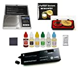 PuriTest Gold Silver Platinum Test Acids with Diamond Tester, Digital Scale, FREE Solid Silver Bar and More