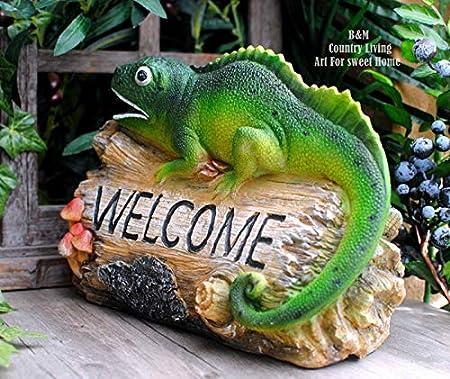 Winpavo Escultura Figurilla Estatuas Simulación Camaleón Lagarto Jardín De Casa Jardín Balcón Tienda Decoraciones Adornos Tarjeta De Bienvenida: Amazon.es: Hogar