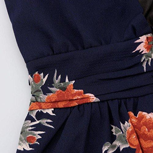 Kleid Transer® Damen V Neck Ärmellos Sexy Bodenlänge Abendmode Sommer Outdoor Strand Langen Kleid Festival Party Ein Hochseitenschlitz Chiffon Print Blume Marine Kleider Gr.S-XL