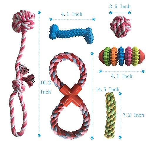 Kathson 12 Pack Dog Toys Set Puppy Chew Rubber Squeak Toy | Cotton Rope Toy | Dog Balls | Training Dog Whistle Dog Frisbee Toys For Small Puppy Medium&Large Dogs