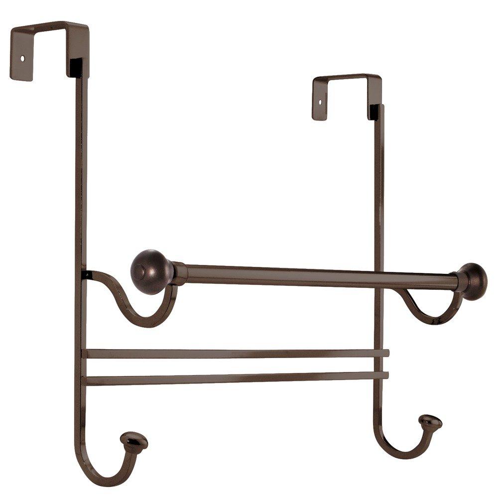 Amazon.com: InterDesign York Over The Bathroom Shower Door Bath Towel Bar  With Hooks   Bronze: Home U0026 Kitchen