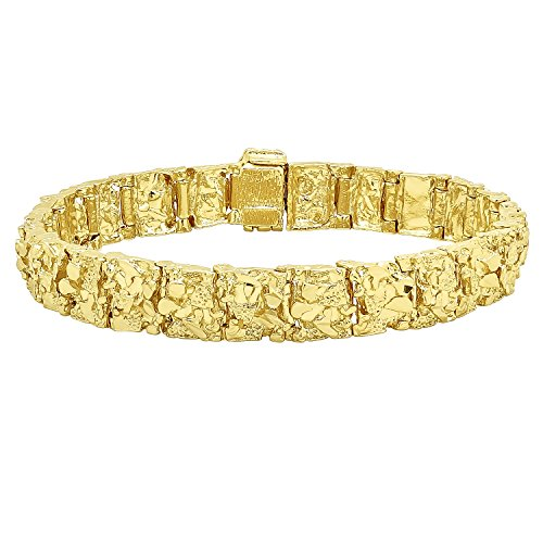 Thick 11mm 14k Yellow Gold Plated Chunky Nugget Textured Link Bracelet, 8