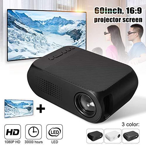 DELAMZ - Mini 7000 Lumens LED HD 1080p Mini Projector Multi-media Home Cinema Theater HDMI Multimedia Beamer Projector Black from DELAMZ