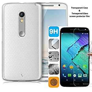 Moto X Pure Edition Case & Screen Protector Value Pack - Transparent / Crystal Clear / Slim / Lightweight Case and Tempered Glass Screen Protector Bundle
