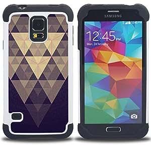 - pyramid pattern blue pastel purple/ H??brido 3in1 Deluxe Impreso duro Soft Alto Impacto caja de la armadura Defender - SHIMIN CAO - For Samsung Galaxy S5 I9600 G9009 G9008V