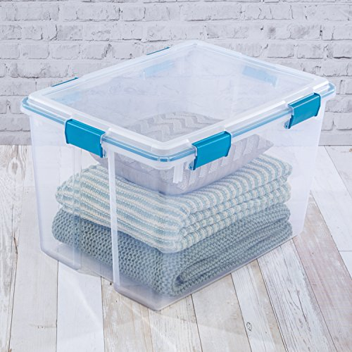 Sterilite Liter Box, Lid & Base Blue Aquarium Gasket, 4-Pack