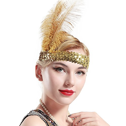 Gold Showgirl Costume (BABEYOND 1920s Flapper Headband Roaring 20s Sequined Showgirl Headpiece Great Gatsby Headband with Gold Feather)