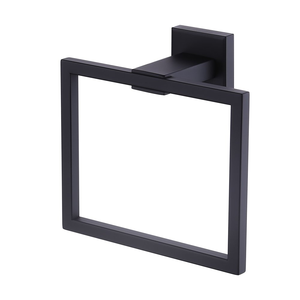 Kes Towel Ring Bathroom Shower Towel Hanger Holder Matte Black SUS 304 Stainless Steel Modern Square Style Wall Mount, A2480-BK