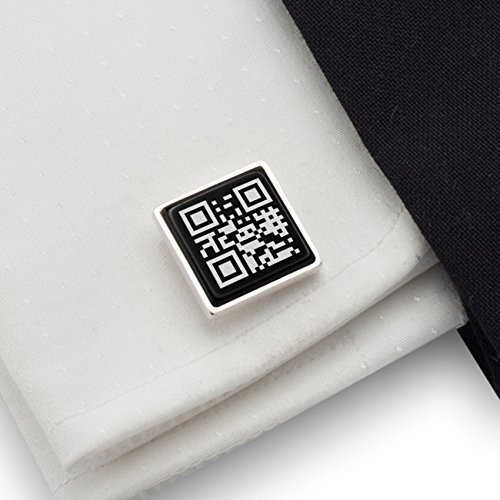 QR Cufflinks Personalised Secret Message or a Link to Your favorite Song,Geek cufflinks,Gift ideas for Men | 925 Silver, Onyx gamestone | Size 0.66x0.66 inches | Gift letter | Handmade (Insta Link)
