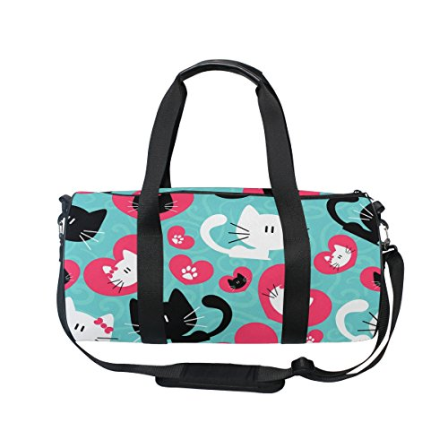 Evolutions Romantic Cute Couple Of Cats Travel Duffel Bag Sports Gym Bag For Men & Women by Evolutions