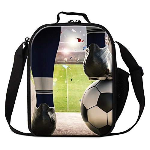 Dispalang Soccer Print Insulated Lunch Bags for Children Cool Small Cooler Bags Kids by Dispalang