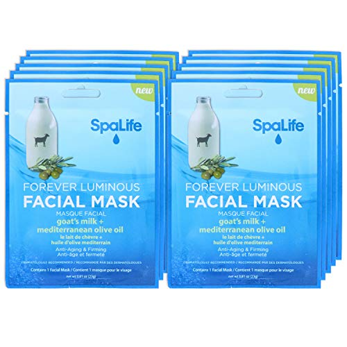 SpaLife Hydrating, Purifying, Anti-Aging, Detoxifying and Soothing Korean Facial Masks - 10 Masks (Goats Milk + Mediterranean Olive Oil)