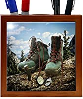 Rikki Knight 5-Inch Hiking Boots with Compass Design Wooden Tile Pen Holder (RK-PH1022)