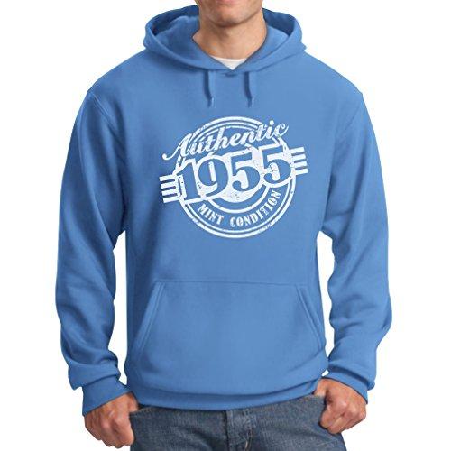 TeeStars - 62nd Birthday Gift Authentic 1955 Mint Condition Funny Hoodie Medium California Blue ()