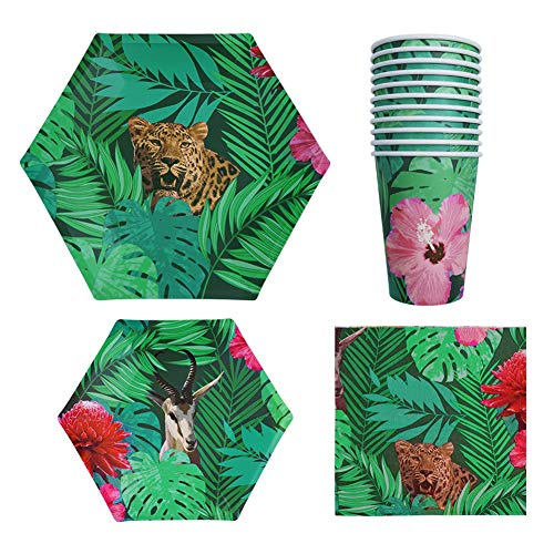 Disposable Dinnerware Set Safari Jungle Animal Party Supplies Includes Paper Plates, Napkins,Cups For Tropical Fiesta,Safari Adventure Birthday party for 12 Guests ()
