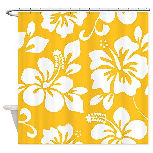 CafePress Yellow Hawaiian Hibiscus - Decorative Fabric Sh...