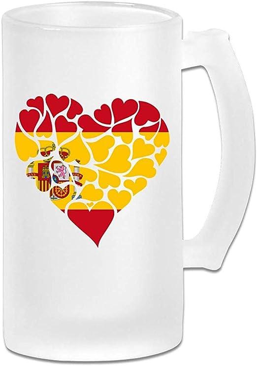 Taza de cerveza Stein de cristal esmerilado de corazón de bandera ...