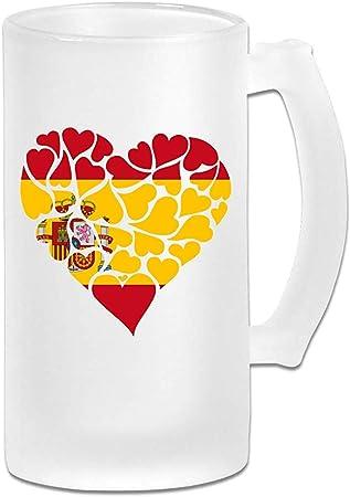 Taza de cerveza Stein de cristal esmerilado de corazón de bandera de España - Taza de pub personalizada personalizada - Regalo para su bebedor de cerveza favorito: Amazon.es: Hogar